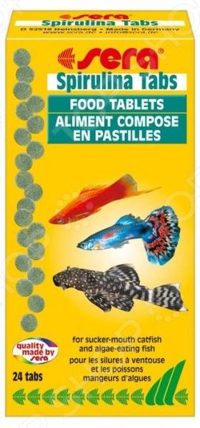 Корм для рыб Sera Spirulina TabsВитамины и добавки. Корм для рыб<br>Корм для рыб Sera Spirulina Tabs сухой прессованный корм, который отлично подходит для живородящих карпозубых, восточно-африканских цихлид, кольчужных сомов и других видов, потребляющих водоросли. Благодаря высокому содержанию Спирулины около 25 , корм обогащен каротиноидами, способствующими поддержанию яркости окраса, а также легкоусвояемым белком. Таблетки легко прикрепляются ко внутренней стороне стекла, расщепляясь на мельчайшие частицы в течение 3-х дней, поэтому такой вид корм можно легко использовать, если владелец аквариума не имеет возможности некоторое время следить за его обитателями. Состав: спирулина 20 , морские водоросли, шпинат, зелень. Содержание: протеин 47,8 , жиры 8,1 , растительные волокна 4,1 , зольные вещества 11,7 , вода 5,5 . Добавки и витамины на 1000г : А 30000МЕ, B1 30 мг, В2 90 мг, С 550 мг, D3 1500МЕ, Е 60 мг.<br>