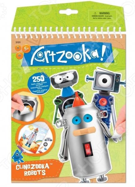 Набор для творчества Artzooka! Забавные роботы - удивительный набор, который понравиться вашему ребенку. С помощью этого удивительного набора можно создать необычных роботов из различных деталей, наклеек. Подобные занятия развивают фантазию и творческий потенциал малыша, а кроме того, позволяет весело и с пользой провести время. Все эллементы выполненны из качественных и безопасных материалов. В комплекте:  10 листов с фоном;  7 страниц с забавными наклейками;  1 лист с многоразовыми наклейками;  вдохновляющая инструкция.