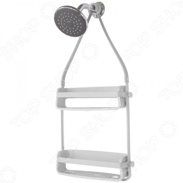 Органайзер для душа Umbra Flex отлично впишется в интерьер ванной комнаты, добавит ей оригинальности и креатива. Модель представляет собой удобный, практичный и вместительный держатель для хранения шампуней, гелей для душа, мыла, мочалок, кремов, щеточек для ног и прочих косметических и гигиенических принадлежностей. Органайзер выполнен в виде трех подвесных полок, соединенных между собой силиконовыми лентами; по бокам имеются два крючка для подвешивания конструкции на крепление душа или на штангу для шторки. В основании полки проделаны отверстия, благодаря которым пузырек можно перевернуть вверх ногами и использовать его в качестве диспенсера.