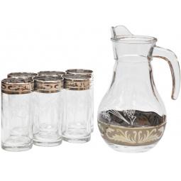 Набор: кувшин и 6 стаканов Гусь Хрустальный «Русский Узор»