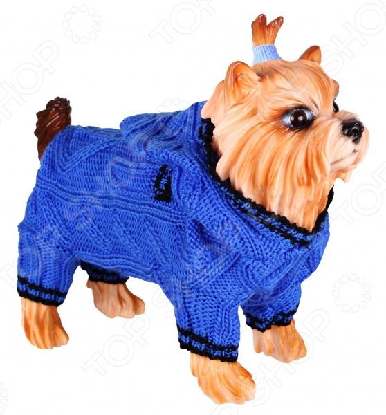 Свитер для собак DEZZIE «Скай». Цвет: синийПопоны<br>Свитер для собак DEZZIE Скай замечательная вещь для заботливых владельцев собак, которые хотят обеспечить комфорт и уют своему питомцу. Изделие разработано с учетом анатомических особенностей животных, поэтому вашей собачке будет удобно и тепло. Кроме того, свитер смотрится очень модно.<br>