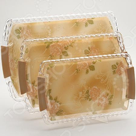 Набор подносов Mayer&Boch MB-3248 «Чайная роза» наб подносов мет mb 3пр рез зол руч