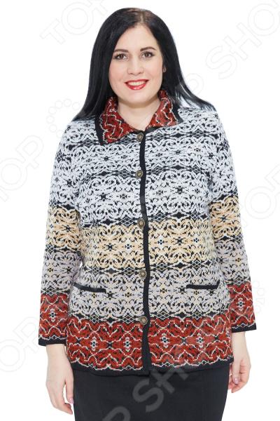 Жакет Milana Style «Изольда»Жакеты. Пиджаки<br>Жакет Milana Style Изольда это жакет прилегающего силуэта, который подходит женщинам с любой фигурой. Жакет гармонично смотрится как блузкой, так и кофтой. Вы можете носить его как на работу, так и на романтический вечер. Интересная структурная вязка и яркий жаккардовый геометрический узор стройнят фигуру и смотрятся очень стильно.  Жакет полуприлегающего силуэта с отложным воротником и застежкой на пуговицы.  Яркий и контрастный узор выглядит стильно, а переход от светлого к более темному подчеркивает достоинства женской фигуры.  Предусмотрены накладные карманы.  Универсальная длина на уровне бедер.  На фото с юбкой Самая красивая . Выполнено из мягкого полотна шерсть 30 ; пан 70 , которое не линяет и не скатывается, быстро высыхает после стирки. Такая ткань не линяет, не скатывается, формы от стирки не теряет. Содержит материал из шерсти, который обладают хорошей воздухопроницаемостью и согревающим эффектом. Пан делает изделие теплым и мягким, приятным к телу.<br>