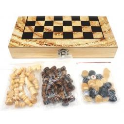 фото Игра настольная 3 в 1: шашки, шахматы, нарды Shantou Gepai 63948