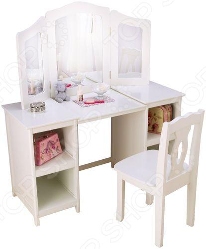 Трельяж детский KidKraft Deluxe Vanity &amp;amp; ChairПарты. Столы. Стулья. Табуреты детские<br>Трельяж детский KidKraft Deluxe Vanity Chair это изысканный косметический столик, который был разработан специально для девочек с учетом их роста и предпочтений. Ведь каждая юная особа заглядывается на материнский туалетный столик, мечтая о таком же, где она сможет, как мама, прихорашиваться перед выходом на улицу.  Но, за полноценным туалетным столиком маленькая девочка не будет чувствовать себя уютно, чего не скажешь про эту детскую модель:  высота столешницы идеально подобрана под небольшой рост ребенка;  на маленьком стуле с резной спинкой удобно сидеть;  по обеим сторонам стола есть тумбочки с двумя отсеками;  тройное большое зеркало. Это необычно реалистичная копия полноценного косметического столика, который понравится каждой девочке без исключений. За ним девочка почувствует себя красивой и повзрослевшей девушкой, поднимет свою самооценку. В тумбочках достаточно места чтобы хранить мелкие вещи и элементы косметики.  Компания KidKraft особенно тщательно подходит к выбору материалов, из которых изготавливает свои изделия. Зная, что их продукцией пользуются в основном дети, производитель придерживается всех стандартов производства:  использование древесины лучших пород деревьев;  материалы только натурального происхождения;  изделие экологически чистое;  краски не выделяют токсинов;  стильный и гармоничный дизайн.  Белоснежный туалетный столик впишется в любой интерьер детской комнаты, украсив его новыми линиями. Благодаря цвету столик смотрится очень изящно и воздушно, не смотря его его очень прочную и устойчивую конструкцию. Такой подарок очень понравится юной принцессе, которая еще долгое время будет им с удовольствием пользоваться!<br>