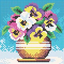 фото Набор для создания картины со стразами Белоснежка «Цветы в горшочке»