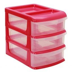 фото Бокс для хранения мелочей мини IDEA М 2763. Цвет: малиновый. Количество полок: 3