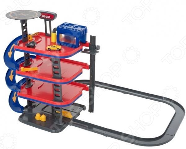 Гараж многоуровневый игрушечный HTI «Большой город»Игровые наборы для мальчиков<br>Гараж многоуровневый игрушечный HTI Большой город станет отличным подарком для юного автолюбителя. Он представляет собой 4-уровневую парковку с автомоечной станцией, вертолетной площадкой и автозаправкой. Каждый из уровней, в свою очередь, оборудован пусковым механизмом для машинок. Помимо этого игровой центр также снабжен лифтом, который приводится в движение при помощи специального колеса. Гараж выполнен из высококачественных материалов и снабжен интерактивными световыми эффектами. Игрушка работает от 3-х батареек типа AG13 приобретаются отдельно . В набор входят три машинки и одна фигурка.<br>