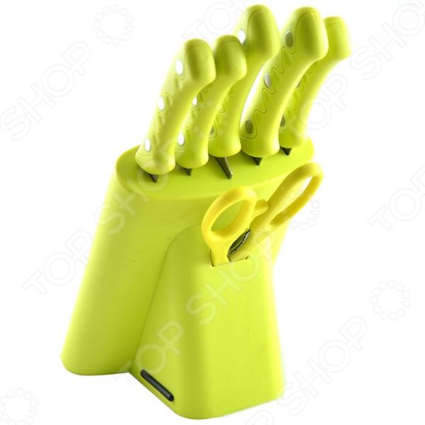 Набор ножей Mayer&amp;amp;Boch MB-4257Ножи<br>Набор ножей Mayer Boch MB-4257 - отличное приобретение, которое станет полезным дополнением к комплекту ваших кухонных принадлежностей. В набор входят 5 ножей разной длины и назначения, ножницы и подставка из цветного полипропилена. С таким комплектом процесс приготовления еды перейдет на качественно новый уровень. Ножи имеют особую форму и специальный угол заточки, что обеспечивает удобство при нарезании и разделке продуктов. Теперь вы сможете без труда выполнять любой вид кухонных работ: нарезать или измельчать овощи и фрукты, разделывать и нарезать мясо или рыбу. Лезвия ножей выполнены из высокопрочного металла, который не окисляется и не изменяет вкусовых качеств продуктов. Рукоятки выполненные из термопластика обеспечивают комфортный хват ножей. Все ножи можно компактно разместить в удобной подставке. Благодаря стильному и современному дизайну, такой набор ножей станет настоящим украшением любой кухни и порадует даже самую взыскательную хозяйку.<br>