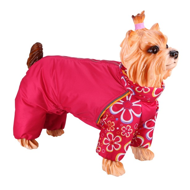 фото Комбинезон-дождевик для собак DEZZIE «Пудель средний». Цвет: красный. Материал подкладки: флис