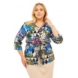 Блуза СВМ-ПРИНТ «Сады Рая». Цвет: синий