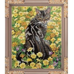 Купить Набор для вышивания бисером Светлица «Кот в цветах»