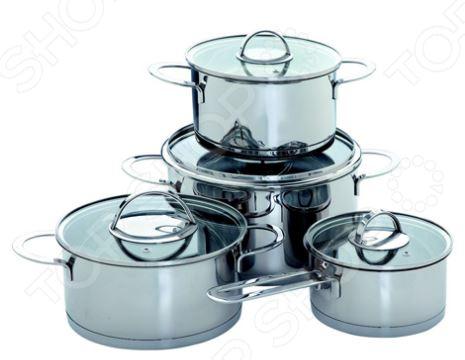 Набор посуды Augustin Welz AW-2200Наборы посуды для готовки<br>С набором посуды Augustin Welz AW-2200 приготовление ваших любимых блюд перейдет на качественно новый уровень. В комплект входят восемь предметов: три кастрюли, ковш и четыре крышки. Набор многофункционален и удобен в использовании, подойдет для варки супов, приготовления блюд из мяса и рыбы, гарниров т.д. Посуда выполнена из высококачественной нержавеющей стали и снабжена 3-слойным штампованным дном состоящим на 7 мм из алюминия и на 0,5 мм из стали . Внутри кастрюль имеется мерная шкала, что создает дополнительное удобство при готовке. Крышки выполнены из жаропрочного стекла и снабжены паровыпуском и металлическим ободком для защиты от сколов и трещин. Набор подходит для всех типов плит, включая индукционные. Посуда пригодна для мытья в посудомоечной машине.<br>