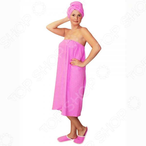 Набор для бани женский EVA «Люкс»Наборы текстильные для бани<br>Набор для бани женский EVA Люкс - отличный подарок для любительниц отдыха в сауне или бане. Комплект включает самые необходимые для комфортного отдыха элементы: накидку, тапочки и чалму. Накидка посажена на резинку и надежно застегивается на липучку, поэтом вы можете не переживать, что она случайно соскользнет. Её можно использовать не только как парео, но и как удобное полотенце или коврик. Изделия выполнены из натурального хлопка, который прекрасно впитывает влагу и не вызывает аллергии.<br>