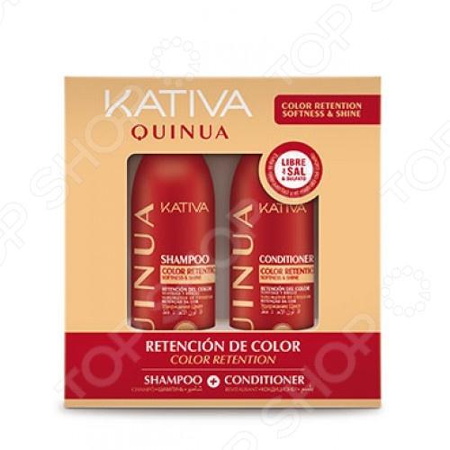 Набор для окрашенных волос: шампунь и коондиционер Kativa 65503071 Quinua «Защита цвета»