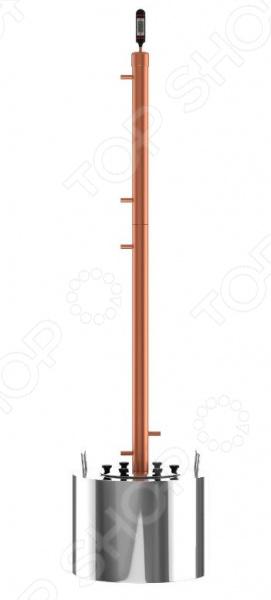 Самогонный аппарат Cuprum&amp;amp;Steel Rocket 28Домашние мини-пивоварни. Самогонные аппараты<br>Самогонный аппарат Cuprum Steel Rocket 28 новая модель медного самогонного аппарата, который относится к классу ректификационных колонн. Мощность модель зависит от диаметра колоны. За счет использования уникальных свойств меди, прибор работает очень эффективно демонстрирует отличную теплопроводность, быстро нагревается и остывает. При нагревании посторонние вкус и запахи отсутствуют, что делает конечный продукт абсолютно натуральным.  Какие еще преимущества данной модели можно выделить  Производительность аппарата составляет до 4 л час.  Высокая степень очистки и крепость напитка, которая может достигать 96 С.  Широкая горловина обеспечивает простой и удобной залив браги, промывку перегонного куба.  Широкие соединительные трубки позволяют избежать закупоривание основных отверстий бражной пеной и плотными элементами браки.  Электронный термодатчик позволяет получать точные данные о температуре пара, до 1 С.  Прокладка из пищевого силикона обеспечивает высокую герметичность, что исключает появление посторонних запахов в процессе перегонки.  Работает на любом виде плит, включая индукционные.  Бак выполнен из высококачественной пищевой нержавеющей стали марки AISI430.  Превосходный вкус напитка, чистота и крепость! Особенность данной модели заключается в её уникальной конструкции. Высокая ректификационная колонна работает по принципу водяной рубашки, что позволяет добиться производства наиболее чистого продукта и более точного разделения спиртовых фракций и самого продукта. В результате вы получаете кристально чистый напиток без паров спирта и сивушных масел от различных примесей. Часть пара с содержанием различных примесей конденсируется в колонне и возвращается назад в бак.  Прекрасный выбор для начинающих и более опытных самогонщиков! Самогонный аппарат Cuprum Steel Rocket 28 профессиональное оборудование, позволяющее получить напитки премиум класса. Простой в эксплуатаци