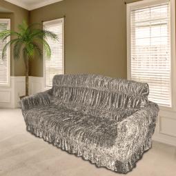 Натяжной чехол для мягкой мебели «Райское ложе» и 2 чехла для кресла