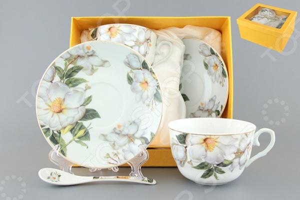 Чайная пара с ложками Elan Gallery «Белый шиповник» 730481