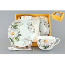 Купить Чайная пара с ложками Elan Gallery «Белый шиповник» 730481