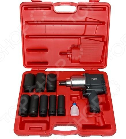 Набор инструмента: пневмогайковерт с ударными удлиненными головками Force F-6111D-1