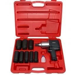 Купить Набор инструмента: пневмогайковерт с ударными удлиненными головками Force F-6111D-1