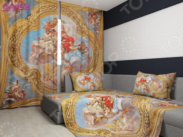 Комплект: фотошторы и покрывало Сирень «Фреска в храме Италии»Фотошторы<br>Комплект: фотошторы и покрывало Сирень Фреска в храме Италии элемент, способный украсить и оживить интерьер любой комнаты. Застелите ваш диван или кровать этим покрывалом, и привычная мебель станет еще уютнее, чем раньше. А шторы, выполненные в едином стиле с покрывалом, станут завершающим штрихом в оформлении комнаты. При этом такой комплект может стать хорошим подарком близкому человеку. В комплекте вы найдете:  Две фотошторы, размер каждой из которых составляет 145х180 см.  Покрывало размером 145х220 см. Оцените основные преимущества комплекта из коллекции бренда Сирень :  Оригинальный дизайн придаст изюминку интерьеру.  Сделано из качественных износостойких материалов. Изображение на ткани долго не линяет и не выгорает.  Рисунок нанесен на материал при помощи специальной технологии, создающей эффект 3D. Смотрится очень эффектно. Покрывало и шторы выполнены из ткани габардин, состоящей на 100 из полиэстера. На поверхности полотна заметны диагональные рубчики, полученные в результате саржевого плетения в процессе производства. В результате изделие отличается своей прочностью и долговечностью, сохраняет первоначальный вид в течение длительного времени. Рекомендуется ручная стирка при температуре 30 C или в стиральной машине в деликатном режиме. Шторы крепятся при помощи шторной ленты под крючки .<br>