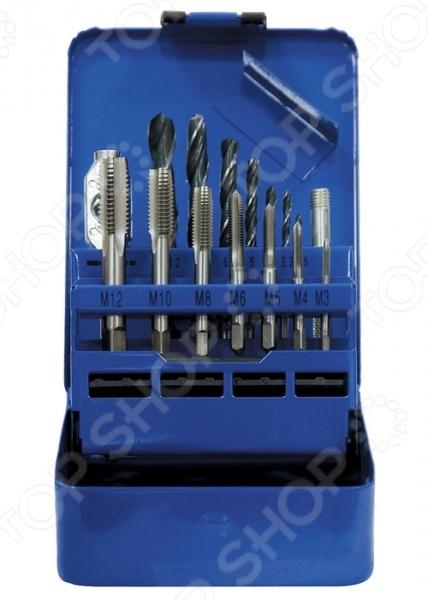 Набор сверл и метчиков СИБРТЕХ 77305Наборы сверл<br>Набор сверл и метчиков СИБРТЕХ 77305 набор комплектующих, используемых для нарезания внутренней резьбы. В комплект входят семь, различных по размеру сверл 2,5-10,2 мм , семь метчиков М3-М12 и метчикодержатель. Изделия выполнены из высокопрочных материалов, практичны и долговечны в использовании. Набор упакован в металлический футляр с маркировкой номера сверла и номера метчика.<br>
