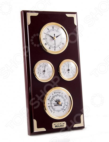 Часы-метеостанция настенные Brigant 28048Часы настенные<br>Часы-метеостанция настенные Brigant 28048 это не только изысканное украшение вашего дома, но и полезное устройство для измерения времени и погодных условий. Изделие состоит их нескольких механических приборов, с помощью которых вы сможете судить о погоде в ближайшее время. Классический прямоугольный корпус выполнен из дерева и стекла, с элементами металла. Для сохранения изначального блеска лакового покрытия нужно лишь протирать поверхность сухой мягкой тканью. Домашняя метеостанция послужит благородным украшением интерьера, позволяя чувствовать себя истинным аристократом. В самом низу располагается механический барометр для определения атмосферного давления. Он пригодится тем, у кого резкие перепады вызывают неприятные ощущения и головные боли. Над ним установлены гигрометр и термометр, которые измеряют влажность воздуха и температуру в помещении, позволяя поддерживать необходимые условия. В самом верху находятся классические механические часы с римским циферблатом, которые заводятся вручную и точно отсчитывают время. Домашняя метеостанция восхитительный подарок, который не только порадует владельца, но и окажется весьма полезным приобретением.<br>