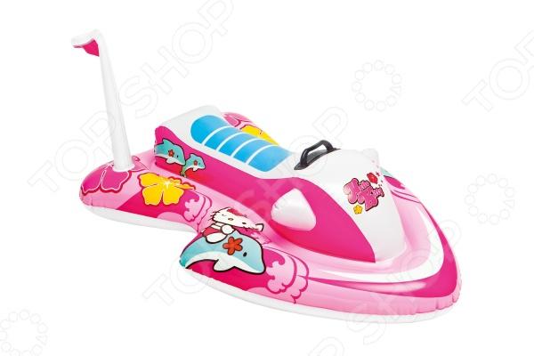 Плот надувной детский Intex Hello KittyДетский надувной транспорт<br>Плот надувной детский Intex Hello Kitty одноместный плот в виде водного мотоцикла с рисунками популярной кошечки Китти. Предназначен для плавания в маленьких водоёмах, игры на пляже. В собранном виде модель занимает мало места, поэтому плот удобно транспортировать и хранить. Выполнен из качественных и прочных материалов, что позволяет значительно продлить срок эксплуатации изделия.<br>