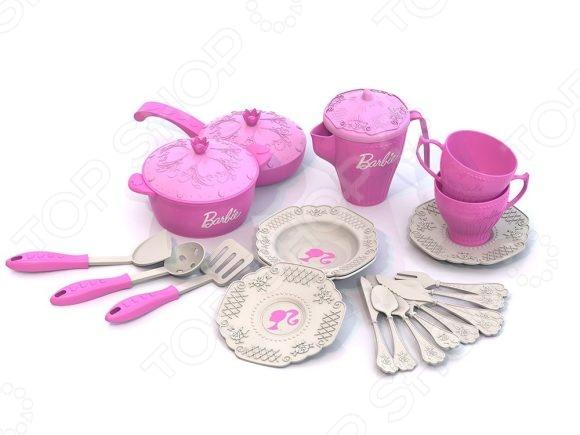 Игровой набор для девочки Нордпласт «Кухонная и чайная посудка. Барби» 639