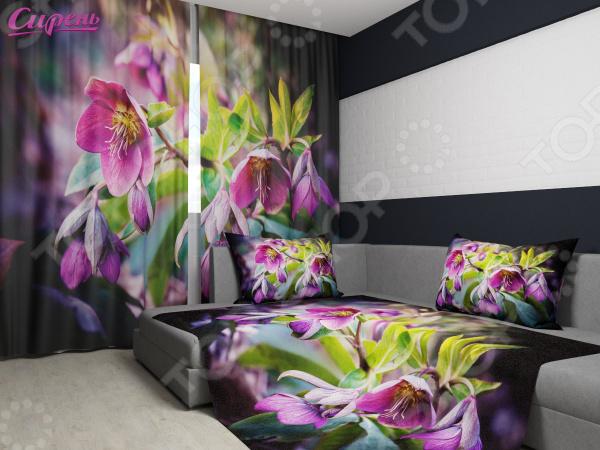 Комплект: фотошторы и покрывало Сирень «Неизвестный цветок»Фотошторы<br>Комплект: фотошторы и покрывало Сирень Неизвестный цветок элемент, способный украсить и оживить интерьер любой комнаты. Застелите ваш диван или кровать этим покрывалом, и привычная мебель станет еще уютнее, чем раньше. А шторы, выполненные в едином стиле с покрывалом, станут завершающим штрихом в оформлении комнаты. При этом такой комплект может стать хорошим подарком близкому человеку. В комплекте вы найдете:  Две фотошторы, размер каждой из которых составляет 145х260 см 3 см .  Покрывало размером 145х220 см 3 см . Оцените основные преимущества комплекта из коллекции бренда Сирень :  Оригинальный дизайн придаст изюминку интерьеру.  Сделано из качественных износостойких материалов. Изображение на ткани долго не линяет и не выгорает.  Рисунок нанесен на материал при помощи специальной технологии, создающей эффект 3D. Смотрится очень эффектно. Покрывало и шторы выполнены из ткани габардин, состоящей на 100 из полиэстера. На поверхности полотна заметны диагональные рубчики, полученные в результате саржевого плетения в процессе производства. В результате изделие отличается своей прочностью и долговечностью, сохраняет первоначальный вид в течение длительного времени. Рекомендуется ручная стирка при температуре 30 C или в стиральной машине в деликатном режиме. Шторы крепятся при помощи шторной ленты под крючки .<br>