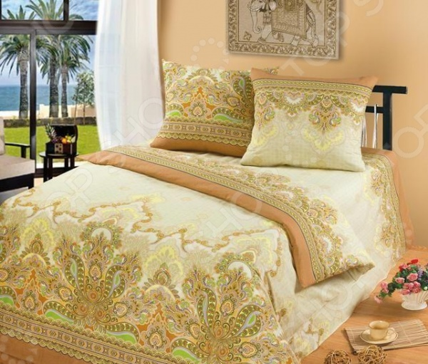 Комплект постельного белья Tete-a-Tete «Бомбей». 1,5-спальный1,5-спальные<br>Комплект постельного белья Tete-a-Tete Бомбей . 1,5-спальный станет отличной покупкой и подарит комфорт во время сна. Все элементы комплекта сшиты из натурального хлопка, который приятен на ощупь и не вызывает раздражения кожи. Все изображения, имеющиеся на постельном белье, нанесены при помощи устойчивого красителя, который не вызывает аллергических реакций. Мягкая и нежная ткань отличается хорошей воздухопроницаемостью, поддерживая комфортный уровень влажности во время сна. Хлопок экологически чистый материал, который издревле используется для изготовления одежды, постельного белья и многого другого. Согласно древним индийским писаниям, волокна хлопка использовались для шитья подушек богов, а сон на них приносит спокойствие и умиротворение. Яркие цвета и затейливый узор полотна будет радовать вас своей насыщенностью и добавят в повседневную жизнь немного красок.<br>