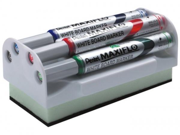 Набор маркеров для досок Pentel Maxiflo - набор маркеров, с тонким круглым наконечником и пластиковым корпусом. Толщина линии 4 мм. В наборе находится 4 маркера красного, черного, синего и зеленого цветов. Также в набор входит губка для стирания следов маркера. Набор компактно собран в пластиковую коробку для удобного и компактного хранения. Губка оснащена магнитной вставкой, которая позволяет крепить ее на металлических досках.