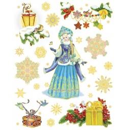 фото Пленка декоративная для окна Феникс-Презент 38615 «Снегурочка с птичками»