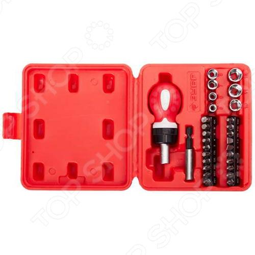 Отвертка реверсивная с насадками Зубр «Мастер» 25420-H29Отвертки со сменными битами<br>Отвертка реверсивная с насадками Зубр Мастер 25420-H29 - высококачественный практичный и удобный набор, разработан в соответствии с высокими требованиями профессионалов. Инструменты способны выдержать высокие нагрузки, благодаря тому, что выполнены из высококачественной хромированной стали, закаленной по особой технологии. Изделия имеют большой ресурс и обеспечивают высокое качество выполнения работ. Набор поставляется в удобном кейсе.<br>