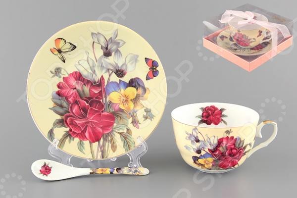Чашка чайная с блюдцем и ложкой Elan Gallery «Анютины глазки» 180799 Elan Gallery - артикул: 534891