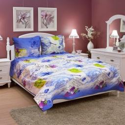 фото Комплект постельного белья Amore Mio Flower BL. Naturel. Евро