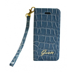 фото Чехол Guess Wallet Case Croco для iPhone 5. Цвет: голубой
