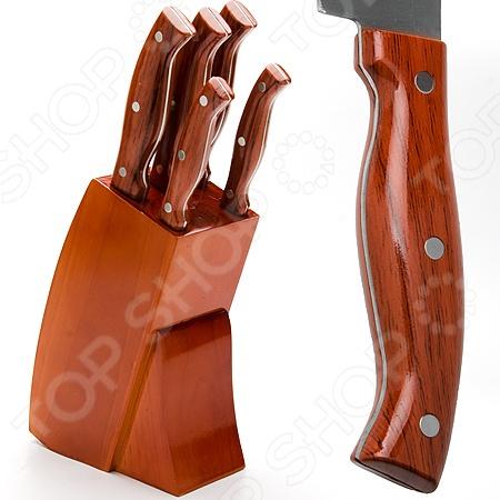 Набор ножей Mayer&amp;amp;Boch MB-23618Ножи<br>Набор ножей Mayer Boch MB-23618 замечательный, многофункциональный набор ножей, который обязательно пригодится на кухне. Ножи отличают не только прекрасные технические характеристик, но стильный современный дизайн, который делает работу с ними ещё более приятной и комфортной. Лезвия выполнены из высококачественной каленой высоко-углеродистой каленой стали, которая характеризуется прекрасной износоустойчивостью и отличными режущими свойствами кромки клинка. Эргономичная рукоять из высококачественного АБС пластика с имитацией под дерево обеспечивает удобный и комфортный хват. В набор входят 5 ножей: поварской нож 20,3 см , хлебный нож 20,3 см , универсальный нож 12,7 см , нож для очистки овощей и фруктов 8,9 см . Теперь вы сможете без труда выполнять любой вид кухонных работ: нарезать или измельчать овощи или фрукты, разделывать и нарезать мясо, рыбу. Прочные и надежные изделия обладают стильным современным дизайном, который придется по душе даже самой требовательной хозяйке. Удобная деревянная подставка с полимерным покрытием обеспечит правильное и рациональное хранение изделий. Готовьте быстро и вкусно с набором ножей Mayer Boch MB-23618!<br>