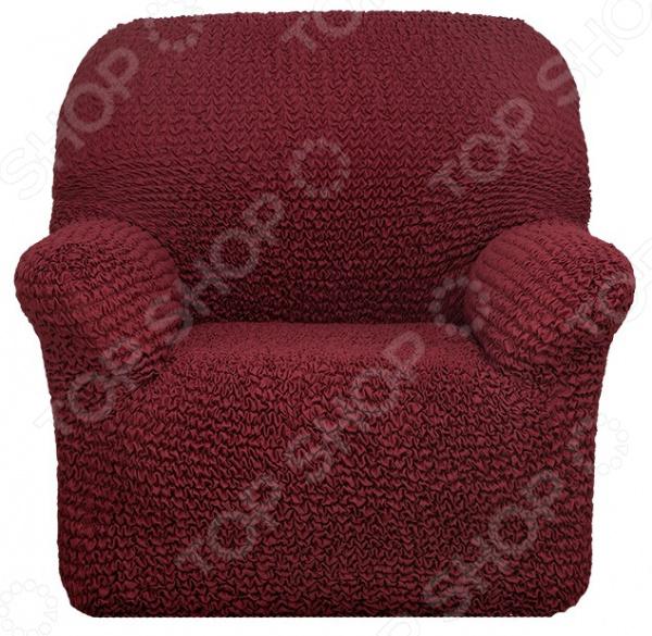 Натяжной чехол на кресло «Микрофибра. Бордо»Чехлы на кресла<br>Кардинальное изменение интерьера Натяжной чехол на кресло Микрофибра. Бордо инновационный чехол, который даст вторую жизнь старой мебели, поможет ей засиять новыми цветами и кардинально преобразит интерьер. Чехол станет приемлемым выбором для тех, кто хочет грамотно расходовать средства, при этом не потерять в качестве. Чехол превосходно натягивается и садится на мебель за счет эластичных нитей, а также легкой и воздушной ткани, которая придает визуальный объем. Поэтому надеть его на кресло не составит особого труда. Преимущественно садится на кресла стандартной формы и габаритов. Преимущества  Сделан из мягкой ткани, приятной на ощупь.  Прострочен эластичными нитями по горизонтали.  Обладает повышенной износостойкости.  Ткань не деформируется и не выцветает после стирки.  Материал не просвечивает.  Высокая степень растяжимости и усадки.  Его можно не гладить.  Защита мебели Сохранение чистоты и гигиеничности это немаловажная часть работы, с которой чехол с легкость справляется. Он используется не только трансформации интерьера, но и для защиты от пыли, пятен, а хозяев от необходимости регулярной чистки. А ведь оригинальную ткань от мебели не так то просто выстирать. Поэтому чехол будет не только красивым дополнением, но и необходимой мерой предосторожности. Отстирать чехол можно в стиральной машинке при температуре 40 С без отжима. Пятна выводятся без проблем, без дорогостоящей химчистки. Также важно отметить, что такую ткань не обязательно гладить. Одежда для вашей мебели Способов обновить старую мебель не так много. Чаще всего приходится ее выбрасывать, отвозить на дачу или мириться с потертостями и поблекшими цветами. Особенно обидно избавляться от мебели, когда она сделана добротно, но обивка подвела. Эту проблему решают съемные чехлы для мебели, быстро набирающие популярность в России. Незаменимы чехлы для мебели в домах с маленькими детьми и домашними животными, в гостиных, где устраиваются застол