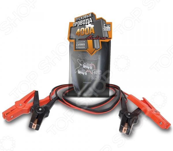 Провода прикуривания Airline SA-400-01Прикуриватели. Пускозарядные устройства<br>Провода прикуривания Airline SA-400-01 для вспомогательного запуска легковых автомобилей. Используются в экстренных ситуациях, когда аккумулятор транспортного средства находится в разряженном состоянии, а использовать зарядно-пусковое устройство нет возможности. Провод и зажимы полностью изолированы, что исключает риск случайного замыкания контактов. Зажимы с широким углом для удобного хвата, что позволит с легкостью крепить провода на любой тип клемм аккумулятора. Подходят для 12-вольтных АКБ. За счет того, что провода имеют специальную морозостойкую изоляцию, их можно использовать для запуска автомобиля даже в самый сильных мороз. Для большего удобства предусмотрена удобная сумка для хранения проводов.  Сечение провода 15,9 кв.мм.  Сила тока 400 А.  Количество жил в проводе 225 шт.  Диаметр провода 9 мм.  Рабочая температура от -40 до 80 С.<br>