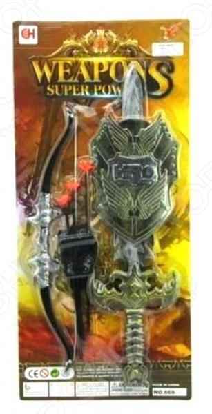 Оружие древнего рыцаря Weapons Super Power 1717154Игровые наборы для мальчиков<br>Оружие древнего рыцаря Weapons Super Power 1717154 даст малышу возможность погрузиться во времена средневековья и попробовать себя в роли отважного рыцаря. В комплект входит лук со стрелами, меч и рыцарский щит. Игрушки выполнены из высококачественных материалов, отличаются великолепной проработкой и особым вниманием к деталям. Предназначено для детей в возрасте от 3-х лет.<br>