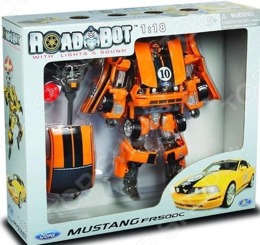 Робот-трансформер Happy Well Ford Mustang FR500Роботы и трансформеры<br>Робот-трансформер Happy Well Ford Mustang FR500 крутая игрушка для озорного мальчишки, который любит устраивать гонки и создавать настоящие поля для сражения роботов и прочих фантастических существ. Поэтому этот комплект 2 в 1 точно будет оценен ребенком по достоинству. Ребенок сможет самостоятельно придумывать и разыгрывать ситуации, в которые попадет робот-трансформер. Такой яркий, интересный и оригинальный конструктор отлично развивает тактильные навыки, зрительную координацию, мелкую моторику рук. Все детали набора изготовлены из пластика высочайшего качества, отлично прокрашены, отличаются превосходной детализацией.<br>