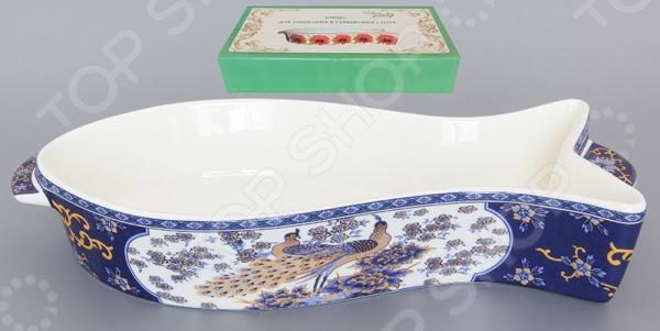 фото Блюдо для запекания Elan Gallery «Павлин синий», Керамические формы для выпечки и готовки