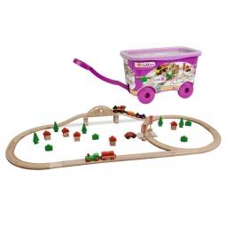 Купить Набор деревянной железной дороги Eichhorn в тележке
