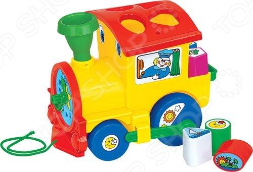 Каталка для малыша на веревочке Полесье «Занимательный паровоз»