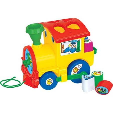 Купить Каталка-сортер для малыша на веревочке Полесье «Занимательный паровоз»