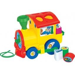 фото Каталка-сортер для малыша на веревочке Полесье «Занимательный паровоз»