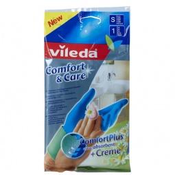 фото Перчатки с кремом для чувствительной кожи рук Vileda «Комфорт». Размер: S