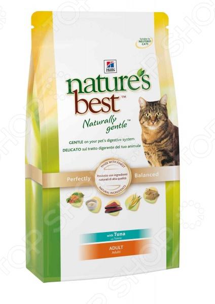 Корм сухой для котят Nature 39;s Best Feline Adult with Tuna это идеальный вариант корма для вашего котёнка. Этот корм подойдёт для взрослых кошек и котов старше 1 года. Он не содержит пшеницу, сою или дешевые наполнители, такие как яйца и молочные продукты. При этом, протестированные антиоксиданты поддерживают здоровье иммунной системы вашего любимца! Можно отметить следующие особенности сухого корма для кошек Hill 39;s 5268 Тунец и овощи :  Эксклюзивное содержание натуральных ингредиентов и минералов.  Гранулы разных форм и натуральных цветов, что повышает привлекательность продукта.  Превосходные вкусовые характеристики привлекут животное.  Этот корм не рекомендуется для беременных и кормящих кошек. Высокая энергетическая ценность удовлетворит потребности животного, при этом у вас не возникнет необходимости скармливать вашему любимцу большие порции. Комплекс антиоксидантов нейтрализует свободные радикалы и поддерживает иммунитет. Внимание! Не забывайте о свежей воде, которая должна быть постоянно в миске вашего питомца. Кормить кошек следует в соответствии с следующим руководством:    Вес кошки кг   2   3   4   5   6   7    Норма в день г   30 - 40   40 55   50 70   65 80   65 90   12 на кг
